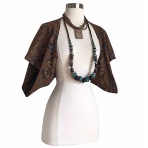 Tops - Brown Aztec Print Capelet